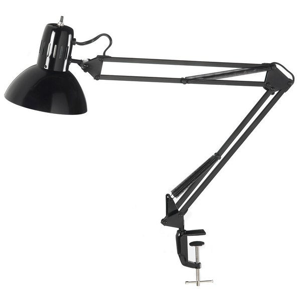 Glossy Black Clamp-on Spring Balanced Desk Lamp