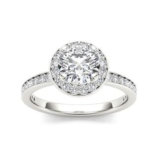 De Couer 14k White Gold 1 1/2ct TDW Diamond Engagement Ring (H-I, I2) with Bonus Necklace