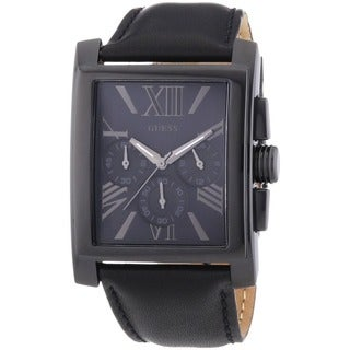 Guess Men's W0010G2 Chronograph Black Leather Watch