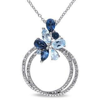 Miadora Silver Blue Topaz and 1/8ct TDW Diamond Necklace (H-I, I2-I3)