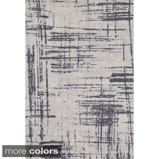 Microfiber Woven Stark Modern Abstract Rug (7'6 X 9'6)