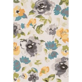Hand-hooked Charlotte Grey/ Yellow Rug (3'6 x 5'6)