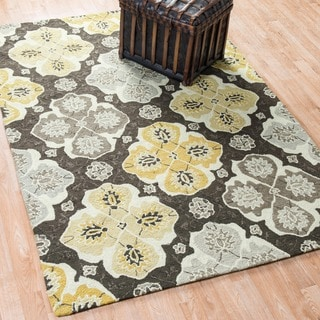 Hand-hooked Charlotte Charcoal/ Multi Rug (5'0 x 7'6)