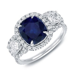Auriya 14k White Gold Blue Sapphire and 1 2/5ct TDW Cushion Cut Diamond Ring (H-I, SI1-SI2)