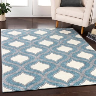 """Meticulously Woven Norwin Modern Geometric Area Rug (7'10"""" Round)"""