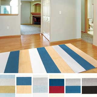 "Meticulously Woven Penn Casual Striped Area Rug (9'3"" x 12'6"")"