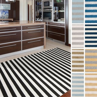 "Meticulously Woven Reze Casual Striped Area Rug (7'10"" x 10'3"")"