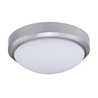Satin Chrome and Glass 13-inch Two-light Flush Ceiling Fixture