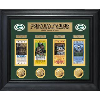 NFL Green Bay Packers Super Bowl Ticket and Game Coin Collection Framed