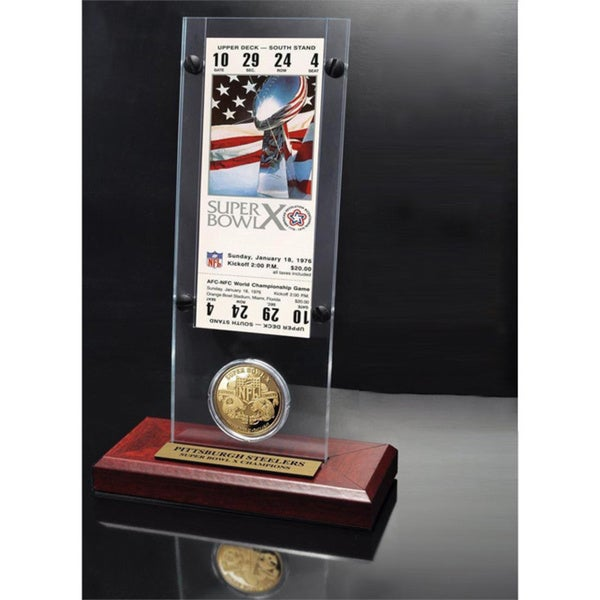 NFL Super Bowl 10 Ticket and Game Coin Collection