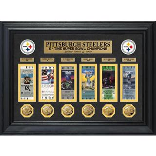 NFL Pittsburgh Steelers Super Bowl Ticket and Game Coin Collection Framed