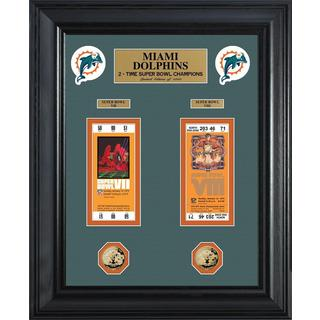 NFL Miami Dolphins Super Bowl Ticket and Game Coin Collection Framed