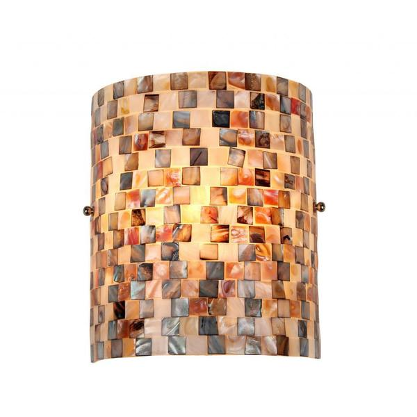 Mosaic Glass Candle Wall Sconces : Sea Shell Mosaic and Glass 1-light Wall Sconce - 16627543 - Overstock.com Shopping - Top Rated ...