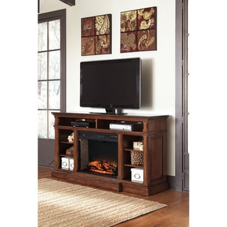 Signature Design by Ashley Gaylon Brown Extra Large TV Stand with Fireplace