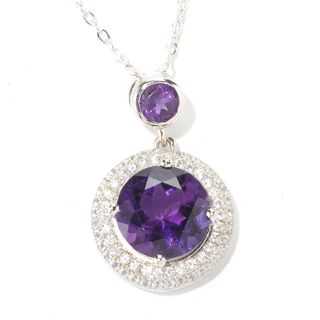 Sterling Silver African Amethyst and White Zircon Pendant