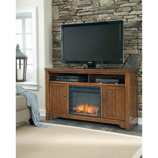 Signature Design by Ashley Chimerin Medium Brown Large TV Stand with Fireplace