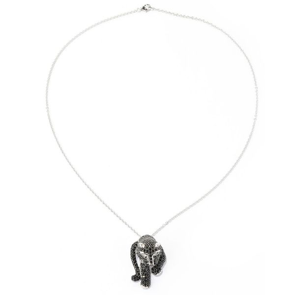 Platinum over Silver Black Spinel and White Topaz Panther Pendant