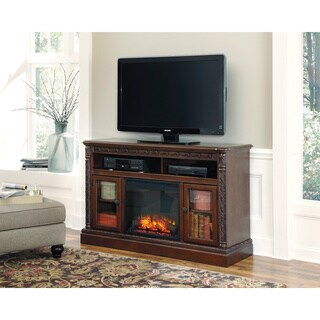 Signature Design by Ashley North Shore Dark Brown Large TV Stand with Fireplace