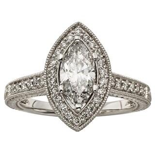 Sofia 14k White Gold 1 1/2ct TDW Marquise Diamond Halo Ring (H-I, I1-I2)