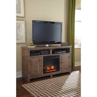 Signature Design by Ashley Pinnadel Light Brown Large TV Stand w/ Fireplace