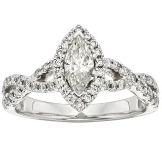 Sofia 14k White Gold 1ct TDW Marquise Vintage-style Halo Diamond Ring (H-I, I1-I2)
