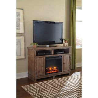 Signature Design by Ashley Pinnadel Light Brown Medium TV Stand with Fireplace