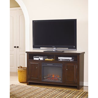 Signature Design by Ashley Hindell Park Dark Brown Large TV Stand with Fireplace