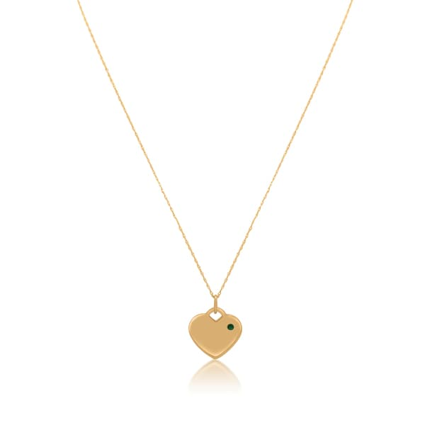 Gioelli 14k Yellow Gold Heart-cut Emerald Tag Pendant Necklace