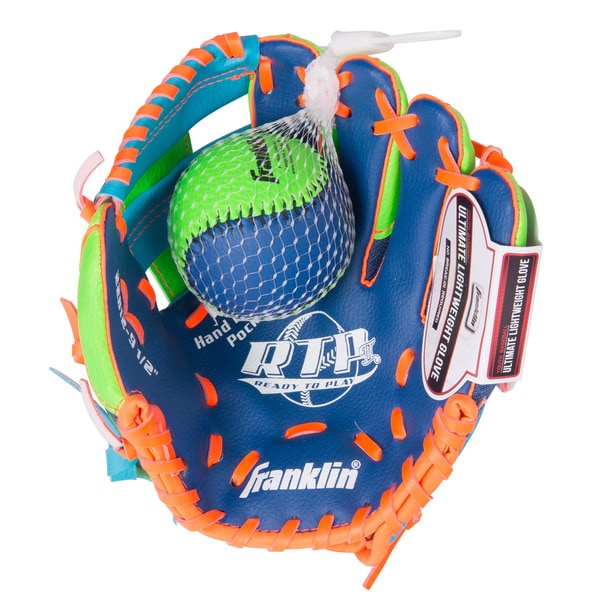 Franklin Sports 9.5-inch Teeball Recreational Blue/ Lime/ Orange Right Handed Thrower Glove and Ball