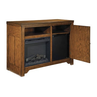 Signature Design by Ashley Chimerin Brown Medium TV Stand with Fireplace