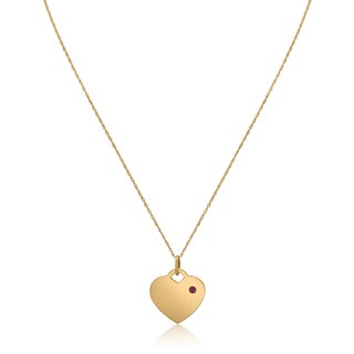 Gioelli 14k Yellow Gold Gemstone Heart Tag Birthstone Pendant Necklace