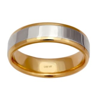 14k Two-tone Gold Men's Comfort Fit Handmade Wedding Band