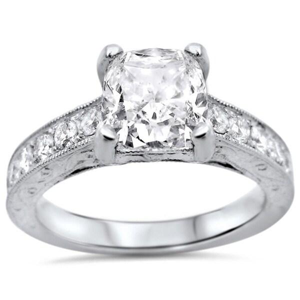 Noori 18k White Gold 1 1/2ctw Cushion-cut White Diamond Clarity Enhanced Engagement Ring (G-H, SI1-SI2)
