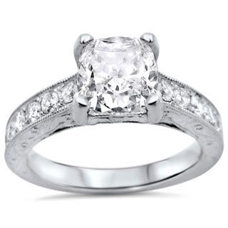 18k White Gold 1 1/2ctw Cushion-cut White Diamond Clarity Enhanced Engagement Ring (G-H, SI1-SI2)