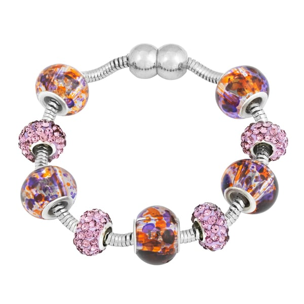 La Preciosa Silvertone Purple Crystal and Glass Beads Magnetic Bracelet