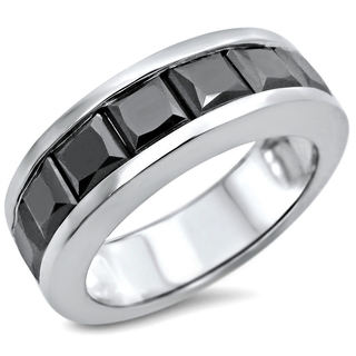 14k White Gold 4 1/3ct TDW Black Diamond Men's Wedding Band