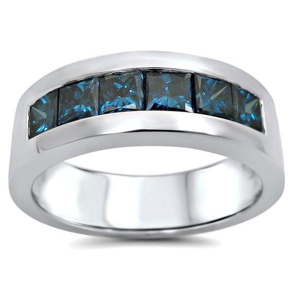 14k White Gold 1 3 5ct TDW Blue Diamond Mens Wedding Band SI1 SI2 UGL