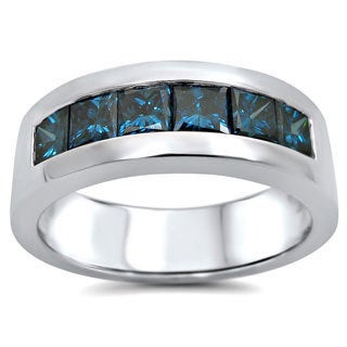 Noori 14k White Gold 1 3/5ct TDW Blue Diamond Men's Wedding Band (SI1-SI2) (UGL)