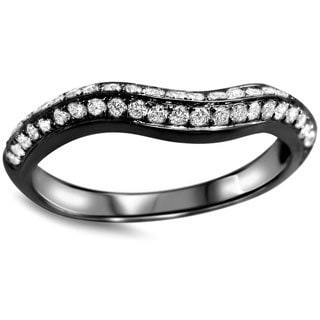 Noori 14k Black Gold 2/5ct TDW Round-cut White Diamond Curved Wedding Band Ring (G-H, SI1-SI2)