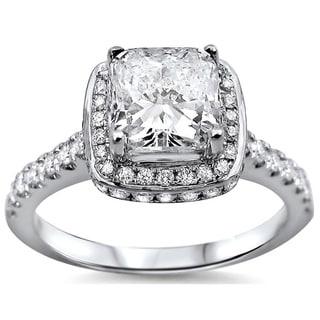 18k White Gold 1 1/4ct Cushion-cut Clarity Enhanced White Diamond Engagement Ring (G-H, SI1-SI2) (UGL)