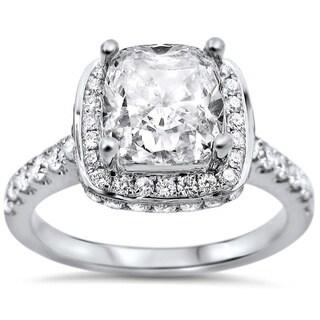 18k White Gold 1 3/5ctw Cushion-cut Diamond Clarity-enhanced Engagement Ring (G-H, SI1-SI2) (UGL)