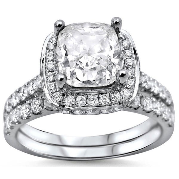 Noori 18k White Gold 2ct Cushion cut White Diamond Clarity Enhanced Engagemen