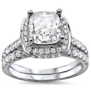 18k White Gold 2ct Cushion-cut White Diamond Clarity Enhanced Engagement Ring Bridal Set (G-H, SI1-SI2)