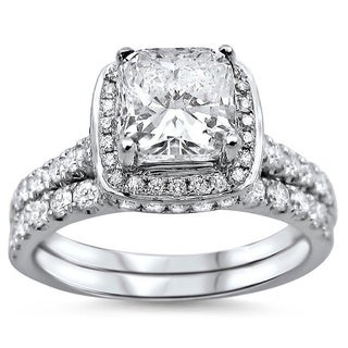 Noori 18k White Gold 1 3/5ct Cushion-cut Diamond Clarity Enhanced Bridal Ring Set (G-H, SI1-SI2) (UGL)