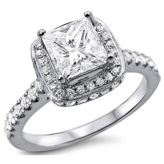 Noori 18k White Gold 1 1/4ct TDW Princess-cut Diamond Clarity-enhanced Engagement Ring (G-H, SI1-SI2)