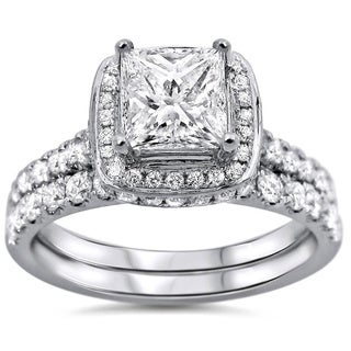 Noori 18k White Gold 1 3/5ct TDW Princess-cut Diamond Clarity-enhanced Bridal Set (G-H, SI1-SI2)