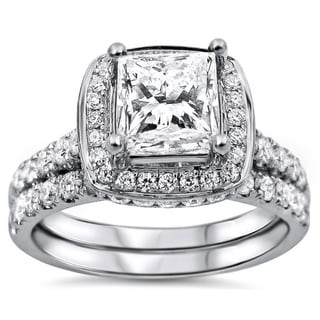 Noori 18k White Gold 2ct TDW Princess-cut Diamond Clarity-enhanced Bridal Set (G-H, SI1-SI2)