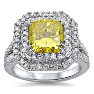 18k White Gold 2 7/8ct TDW Cushion-cut Yellow Diamond Ring (G-H, SI1-SI2)