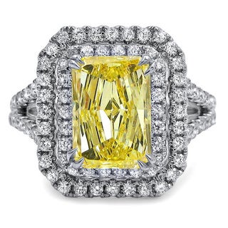 18k White Gold 2 7/8ct TDW Radiant-cut Yellow Diamond Ring (G-H, SI1-SI2)