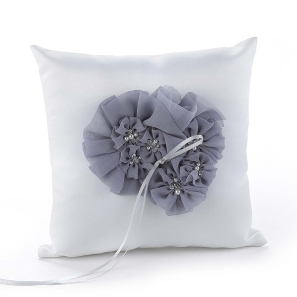 Hortense B. Hewitt Glamorous Grey Ring Pillow